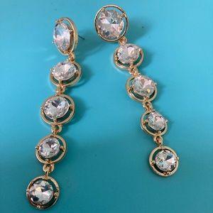 B3G1 Crystal & Gold Tone Dangle Earrings